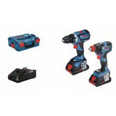Akkukonesetti Bosch GSR18V-60C+GDX18V-20 2xProCORE 4,0aj laturi L-BOXX